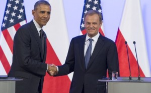 Polish Prime Minister Donald Tusk (R) shakes hands with US President Barack Obama following a meeting in Warsaw, Poland, on June 3, 2014. Obama arrived for a two-day Polish visit, the first stop on a European trip, and will discuss the Ukraine crisis with his central and eastern European counterparts. AFP PHOTO / SAUL LOEB (Photo credit should read SAUL LOEB/AFP/Getty Images)